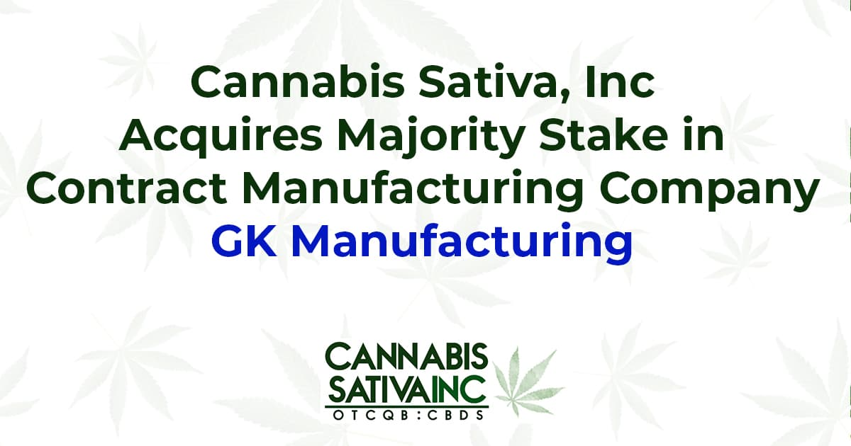 gk manufacturing cbds cannabis sativa inc